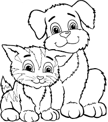 little friends coloring pages of cats and dogs for boys and girls
