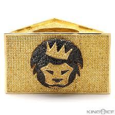 Lion Flag Iced Out Custom Gold Triangle Mic Flag Hip Hop Microphone Flag