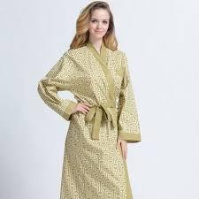 kimono robe de chambre robe de chambre d eté coton col kimono jaune verte femme achat