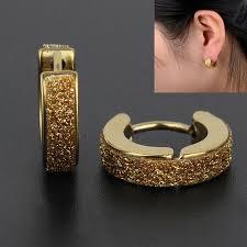 mens gold earrings 2 colors stainless steel gold hoop earrings women and men jeweley
