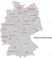 map of regions of germany gray germany map with regions and cities royalty free