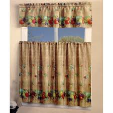 Kitchen Curtains With Fruit Design by Mixed Fruits Kitchen Curtain