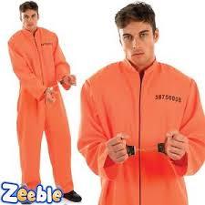 orange jumpsuit escaped prisoner fancy dress costume handcuffs orange jumpsuit