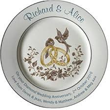 wedding plate personalised diamond wedding anniversary plate with 2 platinum