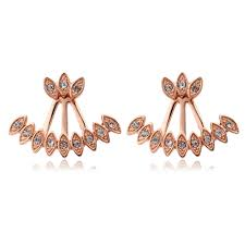 front and back earrings aliexpress buy new sided gold plated peacock