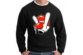 naughty tongue gesture cartoon hand crew neck sweatshirt price