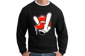 naughty tongue gesture cartoon hand crew neck sweatshirt price
