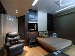 bedroom gray wall paint low bed masculine interior design modern