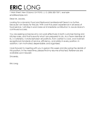 Best Cover Letter Examples by Restaurant Cover Letter Examples