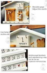bear hanging wall calendar wood home decor cute learning schedule