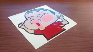 sinchan sinchan glass jdm style sticker piggy sticker