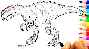 drawing and coloring gorgosaurus dinosaur in jurassic world and