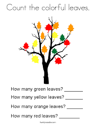 Count Color Pages In Pdf Count The Colorful Leaves Coloring Page Twisty Noodle