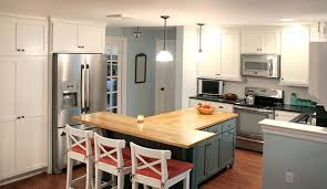 shaped kitchen islands this t shaped kitchen island with wood countertop contact