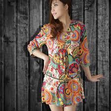 summer dress v neck short sleeve national print dress women cotton