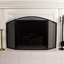 danner three panel fireplace screen black powder coat home accents