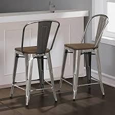 Tabouret Bistro Chair Tabouret Bistro Wood Seat Gunmetal Finish Counter