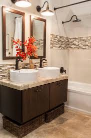 best 25 bathroom ideas 2015 ideas on pinterest rustic shower even shows double sink in small vanity this transitional styled bathroom features ceramic tile walls and natural stone floors accented with glass and stone