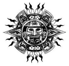 a tribal aztec tattoo design of xolotl the aztec god of fire and
