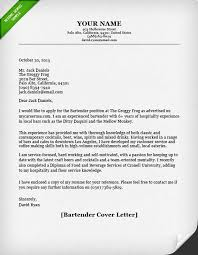 Examples Of Application Letter And Resume by Bartender Cover Letter Resume Genius