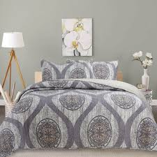 Grey Quilted Bedspread Dada Bedding Classical Grey Mosaic Medallion Reversible Quilted