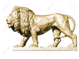 metal lion statue gold metal lion statue zbiroh castle republic stock photo