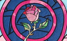 Glass Rose Beauty And The Beast Stained Glass Rose Quilted Wall Hanging The