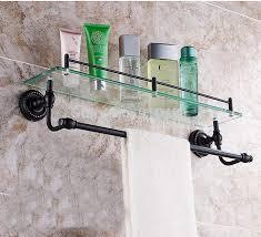 Glass Bathroom Shelf With Towel Bar Wholesale And Retail Promotion Oil Rubbed Bronze Bathroom Shelf