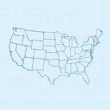 Vector Usa Map by Usa Map Scribbled White On Blueprint Background Stock Vector Art