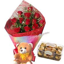 Red Rose Bouquet 12 Red Roses Bouquet Bear With Ferrero Rocher Chocolate Delivery