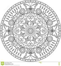 coloring page mandala with flowers and butterflies stock