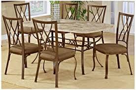 Amazoncom Brookside Rectangular Dining Table Set W Fossil Stone - Stone kitchen table