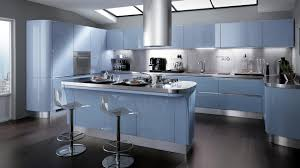 wonderful blue kitchen with glossy cabinetry and kitchen island