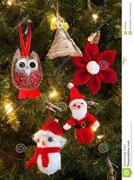 knitted tree decorations stock image image 46602933
