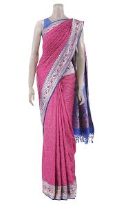 arong saree fuchsia printed and embroidered mirpur katan saree