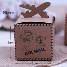 20pcs rustic wedding decor air mail kraft paper candy box travel