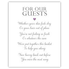 What To Put In Wedding Bathroom Basket Wedding Bathroom Signs Basket Sign Template Amenities Poem Wording