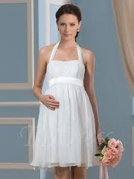 pregnancy wedding dresses knee length halter neck 30d chiffon wedding dress