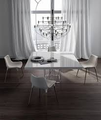 White Lacquer Dining Table by Modloft Clarges Dining Table In White Lacquer On Stainless