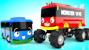 bus monster truck videos little tayo to monster tayo bus tayo the little bus monster tayo