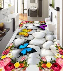 compare prices on butterfly and rose wall stickers online large 3d wall stickers 3d roses butterfly pebbles wall mural floor decals creative design for home
