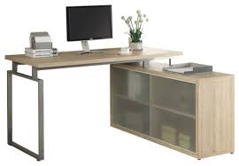 computer desk natural corner with frosted glass contemporary