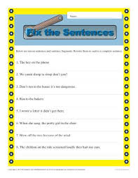 run on and fragments sentence structure worksheets