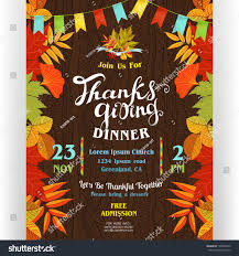 Thanksgiving Flags Thanksgiving Dinner Poster Template Text Customized Stock Vector
