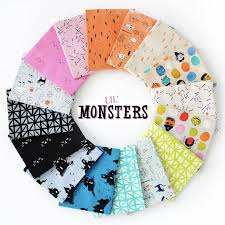 sugar pink lil monsters collection by cotton steel fabrics