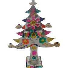 vintage mexican folk art cut tin christmas tree candelabra with