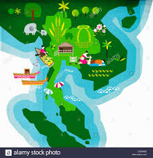 Southeastern Asia Map by Nature And Travel Images Over Map Of Thailand Southeast Asia Stock