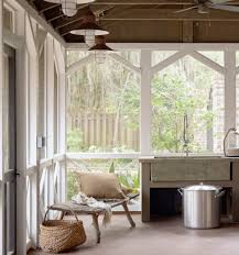 farmhouse porch porch rustic with sunroom outdoor kitchen
