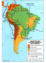 The Map Of South America by Indigenous And Colonial Domains In South America