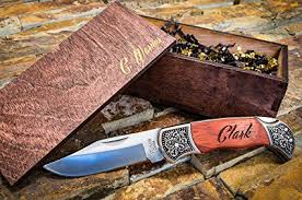 wedding gift knives custom gentlemans knives w engraved wood boxes